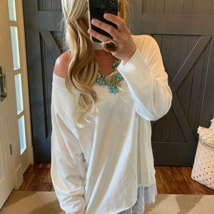 New PLUS White Knit Long Sleeve Oversized Knit Top